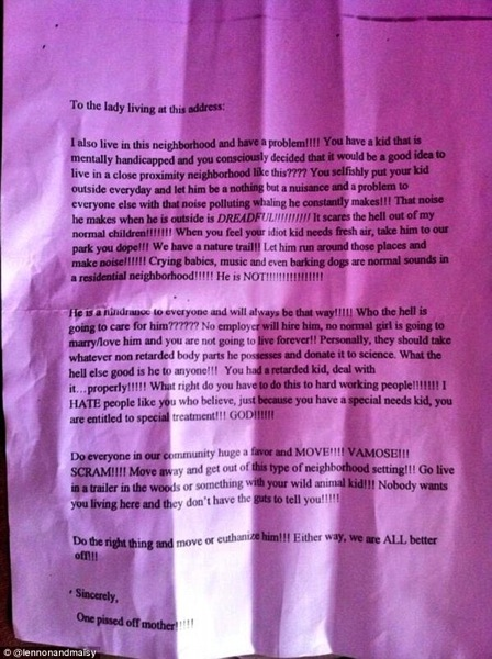 Hate letter to autistic child
