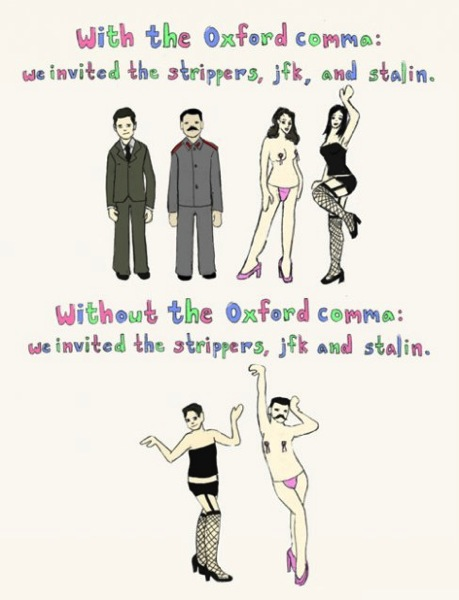 Oxford comma cartoon with JFK and Stalin