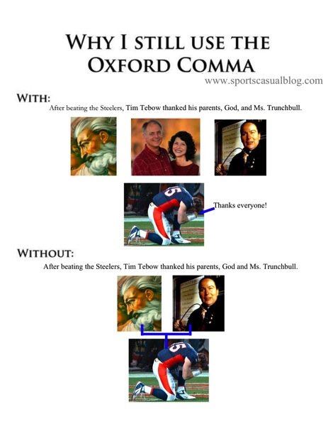 Oxford comma with Tebow